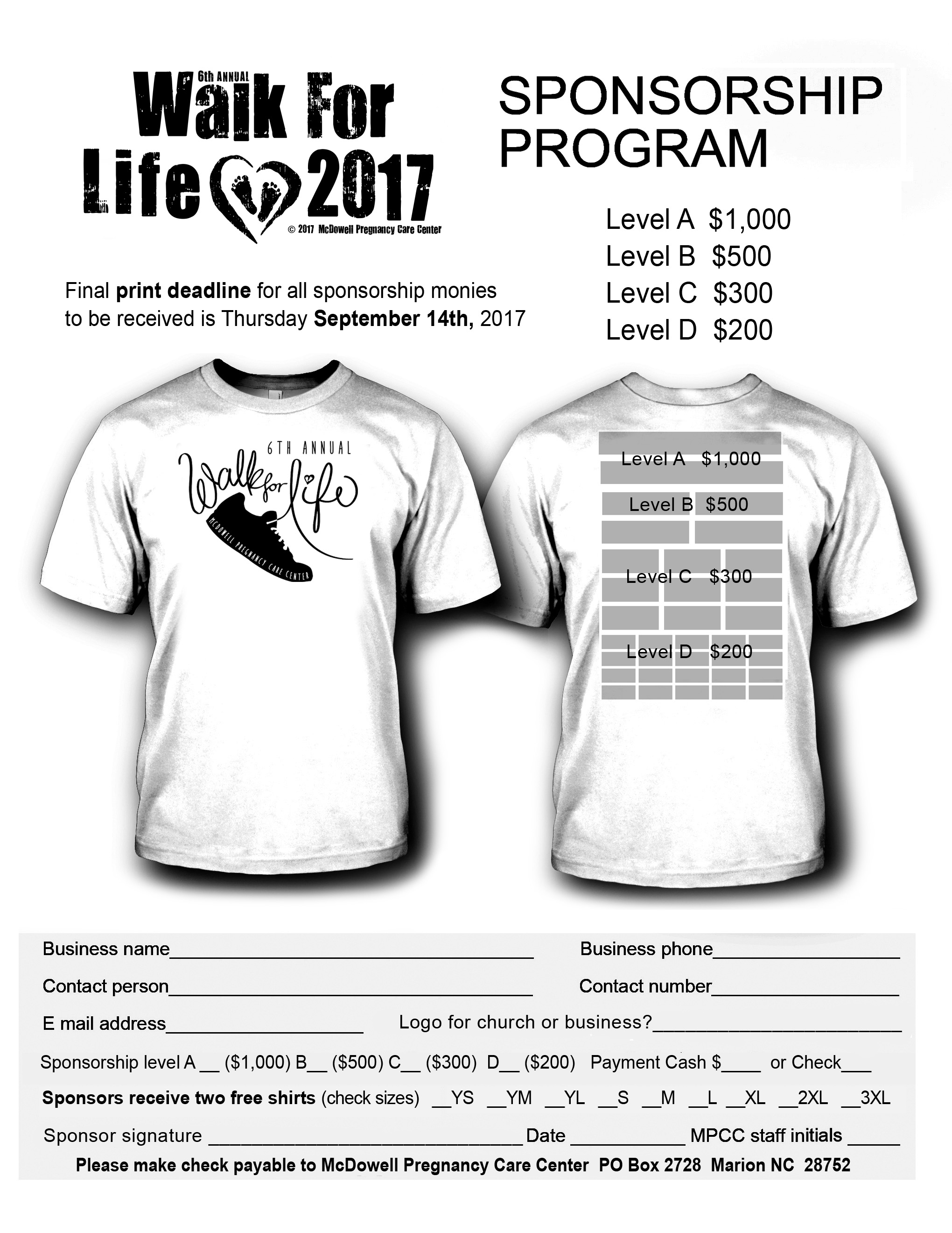 Walk for life mcdowell pregnancy care center for Sponsor t shirt design